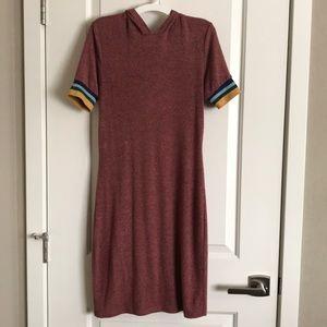 Short Sleeve Midi Length Hoodie Dress